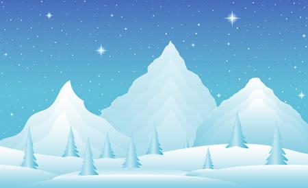 montañas nevadas: Vector paisaje de invierno con las heladas montañas, colinas cubiertas de nieve y árboles. Escena nocturna