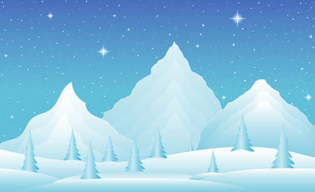 snowy mountains: Vector winter landscape with icy mountains, snowy hills and trees. Night scene