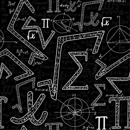 signos matematicos: Científico textura vector sin fin, con varios signos matemáticos, figuras, fórmulas y cálculos. Vector patrón transparente matemática