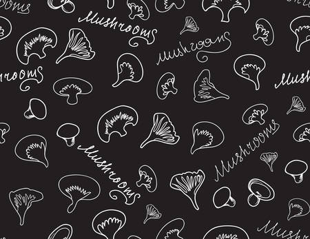 mushroom: Vector food and drink seamless texture with mushrooms and words Mushroom handwritten with chalk on grey board