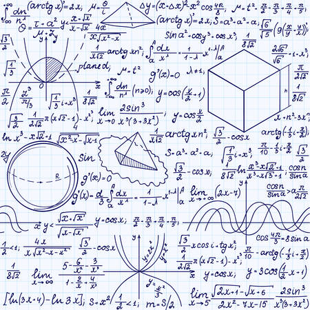 integral: Math education vector seamless pattern with handwritten formulas, tasks, plots, calculations and geometrical figures. Endless texture