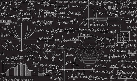 Nahtloses Muster des physischen Vektors mit Formeln, Plots, Gleichungen, handgeschrieben mit Kreide auf einer grauen Tafel Standard-Bild - 53036632