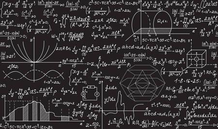 vecteur physique pattern avec des formules, des parcelles, des équations manuscrites à la craie sur un tableau gris