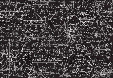 teorema: Textura matemática sin fin con figuras geométricas, ecuaciones y cálculos, escritos a mano con tiza en una pizarra gris, arrastrando los pies juntos. vector sin patrón matemático