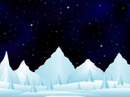 snowy mountains: Vector night landscape with snowy frozen mountains under starry night sky. Vector night scene. Frozen winter landscape Illustration