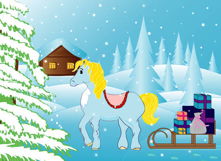 Beautiful vector winter landscape with funny horse bringing Christmas presents to the house