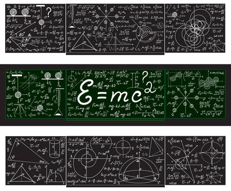 plots: Vector set with school blackboards with handwritten mathematical calculations, plots and figures