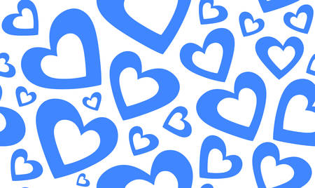 happy couple in bed: Abstract vector seamless pattern with beautiful blue hearts
