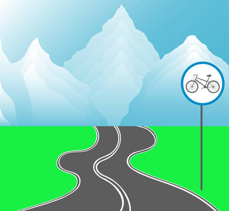 endless road: Vector landscape with endless road for bikes, mountains and green meadows Illustration