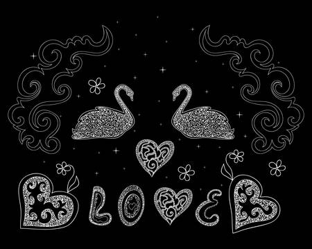 swans: Beautiful vector wedding composition with swans, words Love and hearts
