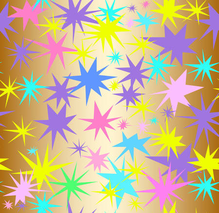 Abstract vector seamless pattern with sparkles and color splashes. Decorative endless texture