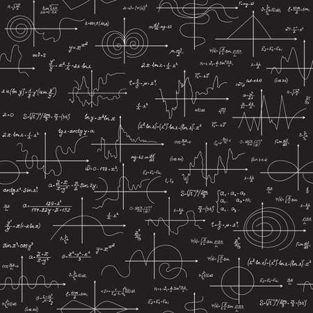 numbers background: Math educational vector seamless pattern with scientific formulas, research equations and plots, handwritten with chalk on a grey board seamless design