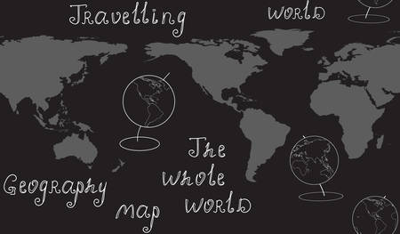 geography: Geography vector seamless pattern with map, globes and handwritten words. Elements of this image furnished by NASA Illustration