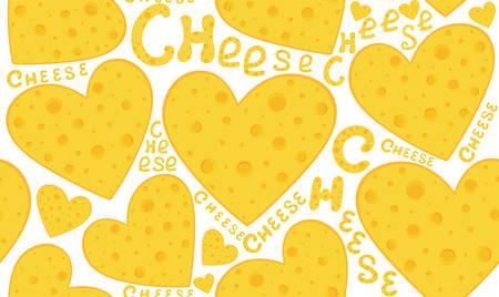 """bebes lindos: comida y bebida del vector sin fisuras patrón hermoso con los corazones de queso y palabras escritas a mano """"queso"""". Se puede utilizar cualquier color de fondo"""