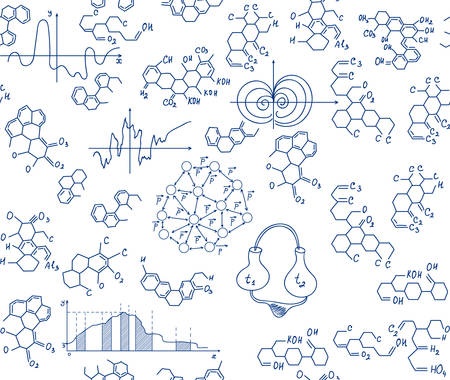combinations: Scientific vector seamless texture with handwritten equations and formulas of chemical combinations Illustration