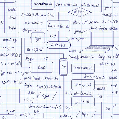 assembler: Technical vector seamless pattern with programming code, program flow diagrams, formulas, technical devices and schemes, handwritten on copybook grid paper. Endless computer texture