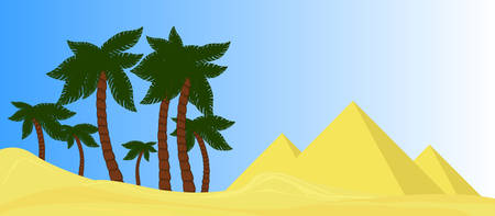 desert oasis: Vector desert oasis with palms and pyramids landscape Illustration