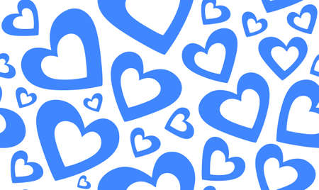 marriage bed: Abstract vector seamless pattern with beautiful blue hearts