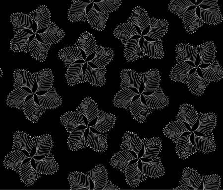 figured: Abstract vector endless decorative texture with figured flowers