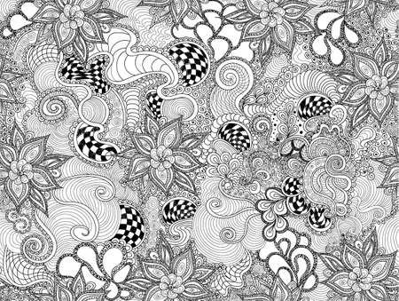 figured: Beautiful floral abstract vector seamless pattern with figured curling lines and decorative linear ornaments. You can use it as a wallpaper in interior, clothing or typographic design
