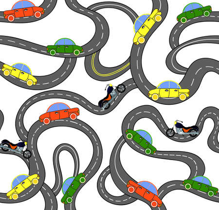 Transport vector seamless pattern with roads, cars and motorcycles. Driving endless vector texture. You can use any color of background