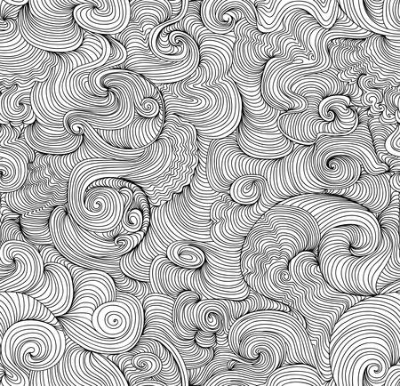 Abstract vector seamless pattern with curling wavy lines. You can use any color of background