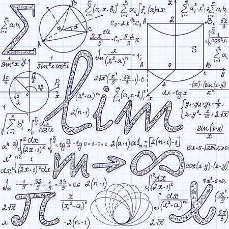 signos matematicos: Algebraic vector seamless texture with many various mathematical signs, calculations, formulas. Math endless pattern, handwritten on a grid copybook paper