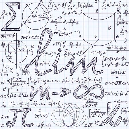 signos matematicos: Textura inconsútil del vector algebraico con muchas diferentes signos matemáticos, cálculos, fórmulas. Matemáticas patrón sin fin, escrita a mano en un papel de cuaderno de cuadrícula