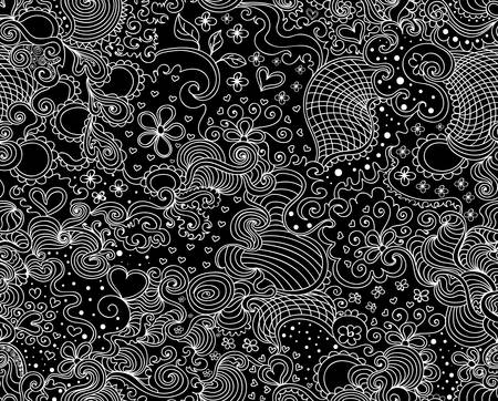 Beautiful vector endless floral texture with figured curling lines and decorative linear ornaments. Decorative seamless pattern. You can use it in interior, clothing or typographic design