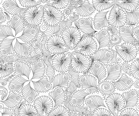 Beautiful abstract vector seamless pattern with flowers, petals, plants, curling figured lines and nature ornaments. You can use any color of background