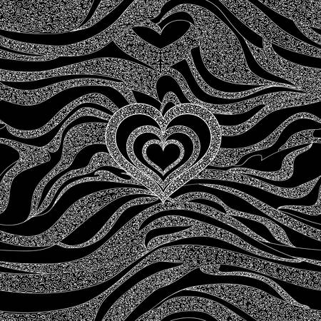 Abstract vector seamless pattern with zebra lines and heart