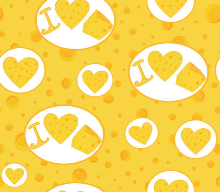 Food vector endless texture with handwritten phrase I love cheese, cheese hearts and cheese slices. Food and drink vector seamless pattern Illustration