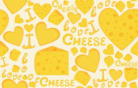 Endless food and drink vector texture with cheese slices and hearts and handwritten words Cheese. You can use any color of background Illustration