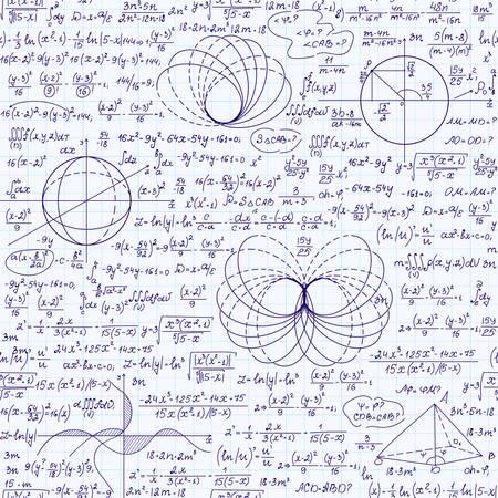 signos matematicos: Textura inconsútil de la matemáticas con varios signos matemáticos, cálculos, fórmulas, ecuaciones, figuras. Algebraica patrón sin fin, escrita a mano en un papel de cuaderno de cuadrícula Vectores