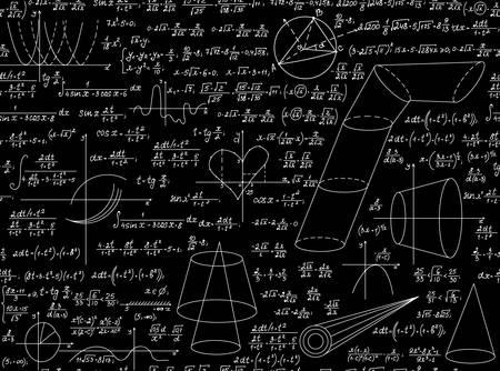 signos matematicos: Modelo inconsútil del vector de la educación matemática con varios signos matemáticos, cifras y cálculos. Científico textura infinita