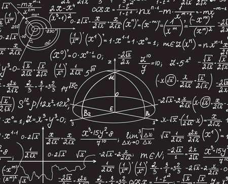 Mathematische Vektor nahtlose Muster mit geometrischen Figuren, Formeln, Gleichungen, handgeschrieben auf einem grauen Tafel Standard-Bild - 66438654