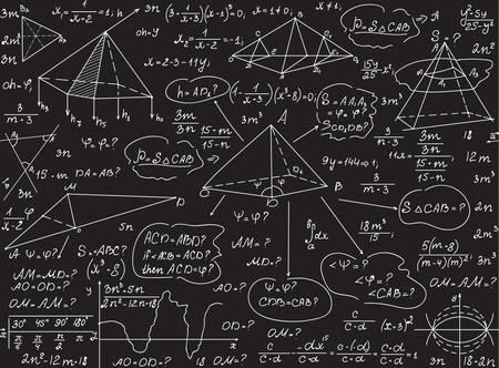 Mathematische Vektor nahtlose Muster mit geometrischen Figuren, Gleichungen, Formeln, handschriftlich mit Kreide auf eine Tafel grau Standard-Bild - 66438743