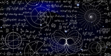 Mathematical vector endless seamless pattern with formulas, figures and calculations handwritten on the background of stars. Scientific space endless texture Ilustração