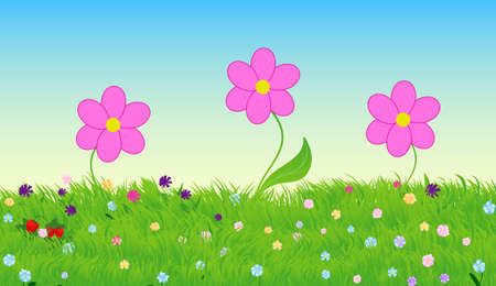 Vector illustration with three cute flowers, green grass and blue sky landscape Illustration