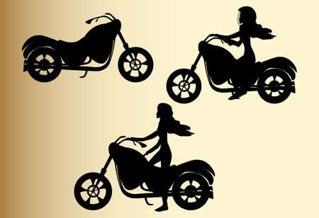 Vektor-Set mit Silhouetten von Fahrrädern und Mädchen, die auf Motorrädern, handdrawn auf einem alten grauen Papier Standard-Bild - 66438787