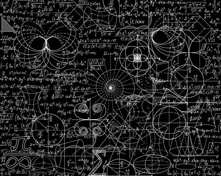 Mathematical vector seamless pattern with math calculations, formulas, plots, figures and equations shuffled together. You can use any color of background 版權商用圖片 - 66438788
