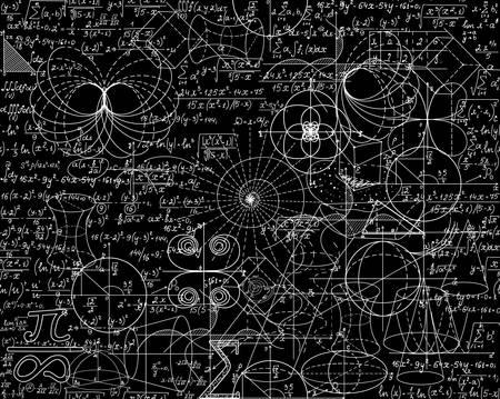 teorema: vector sin patrón matemático con cálculos matemáticos, fórmulas, gráficos, figuras y ecuaciones mezcladas juntas. Se puede utilizar cualquier color de fondo
