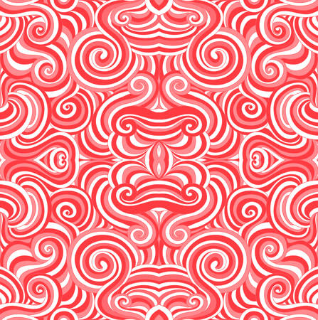 Abstract red and white vector seamless pattern with colorful curling red and white lines and ornaments. Endless vector texture