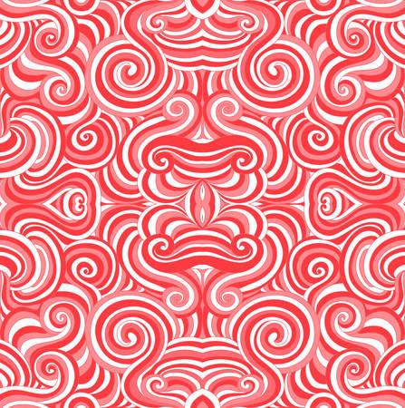 Nahtloses Muster des abstrakten roten und weißen Vektors mit den bunten kräuselnden roten und weißen Linien und den Verzierungen. Endlose Vektor Textur Standard-Bild - 66438792