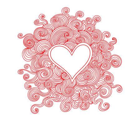 Vector Valentinsgrußherzen mit Muster von Windenlinien. Dekorativer abstrakter Hintergrund Standard-Bild - 66436684
