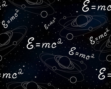 astrophysics: Space vector seamless pattern with physical speed of light formula, planets and stars on starry sky background. Endless texture. You can use any color of background