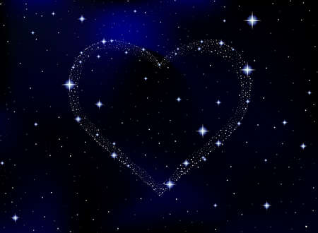 Space vector illustration with starry heart. Vector background