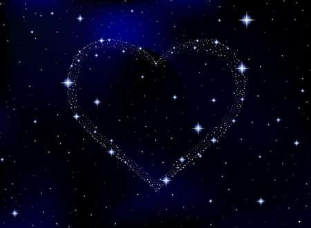 Espacio ilustración vectorial con el corazón lleno de estrellas. Vector de fondo Ilustración de vector