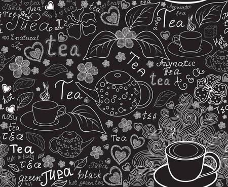 """Essen und Trinken Vektor nahtlose Muster mit Tee Tassen, Teekannen, Teeblätter und Worte """"Tee"""", von Kreide auf Graupappe handschriftlich Standard-Bild - 66581962"""