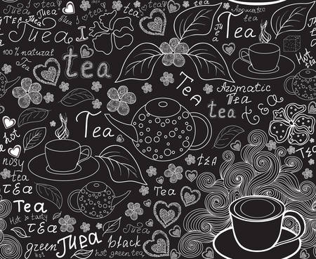 Food and drink vector seamless pattern with tea cups, teapots, tea leaves and words tea, handwritten by chalk on grey board